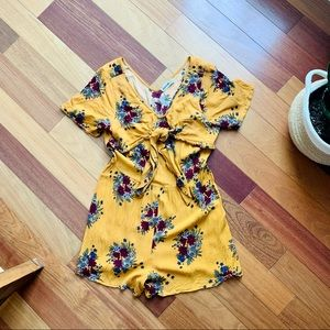 24 Colours Yellow Floral Romper, size small